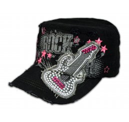 Rock Guitar on Black Cadet Cap with Vintage Distressed Visor