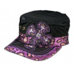 Purple Cross on Black Cadet Castro Cap Vintage Military Army Hat