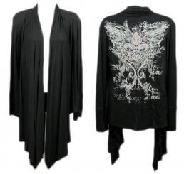 Black Jeweled Shawl with Fleur-de-lis and Wings - Small