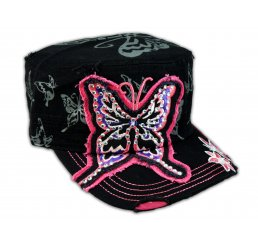 Black Cadet Pink Butterfly Castro Cap Army Hat Vintage Visor Jewel