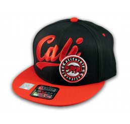 Black and Red California Republic Snapback Hat 3D Cali Bear