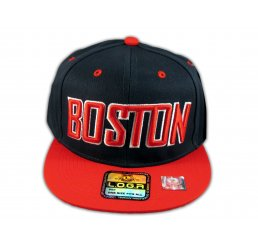 Boston Snapback Black Red Baseball Adjustable Hat Cap Flat Bill