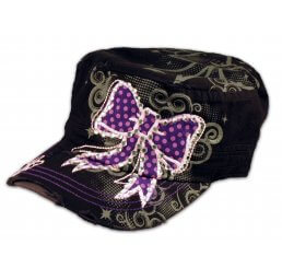 Purple Bow on Black Cadet Cap Distressed Military Army Hat