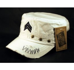Chevron on White Cadet Hat Vintage Military Army BDU Cap Studs