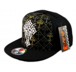 Cross on Black Flat Brim Hip Hop Hat Jewels Gold Stitching Fitted Cap