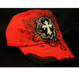 Gold Cross Red Ball Cap Vintage Hat Distressed Visor Jewels