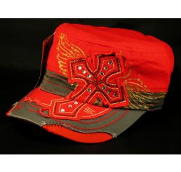 Cross on Red Cadet Cap Army Hat Distressed Visor Jewels Stitching