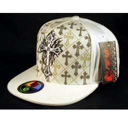 Cross on White Flat Brim Hip Hop Hat Jewels Fitted Cap from Pit Bull