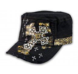 Jeweled Cross on Black Cadet Castro Hat Military Army Cap
