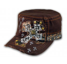 Jeweled Cross on Brown Cadet Castro Hat Military Army Cap