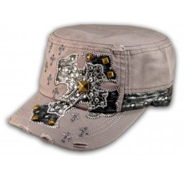 Jeweled Cross on Gray Cadet Castro Hat Military Army Cap