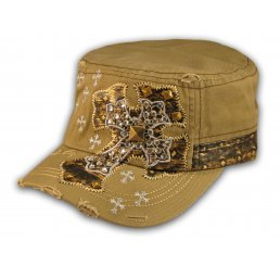 Jeweled Cross on Khaki Cadet Castro Hat Military Army Cap