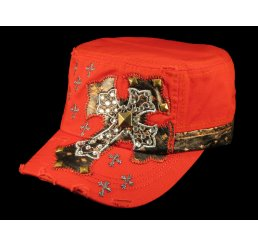 Jeweled Cross on Red Cadet Castro Hat Military Army Cap