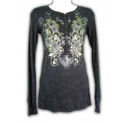 Long Sleeve Thermal Button Up Shirt All Over Print with Jewels
