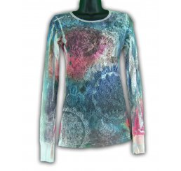 Mesh Long Sleeve Tee All Over Tye Dye Shirt