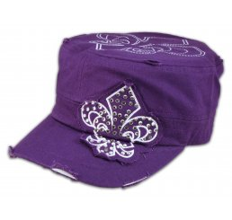 Fleur-de-lis on Purple Army Cadet Hat Distressed Castro Military Cap