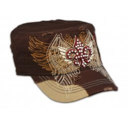 Fleur-de-lis on Cadet Cap Brown Stitching Jewels Military
