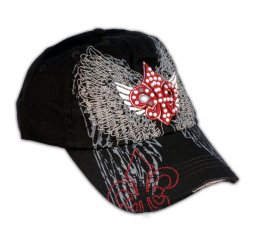 Fleur-de-lis and Wings on Black Ball Cap with Rhinestones