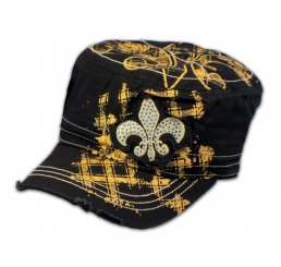 Fleur-de-lis on Black and Gold Cadet Cap Distressed Visor