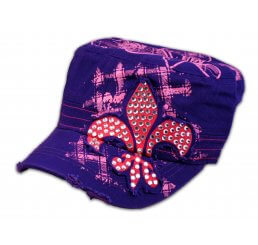 Fleur-de-lis on Purple Cadet Cap Military Hat Distressed Visor