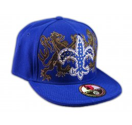 Fleur-de-lis on Blue Flat Brim Hip Hop Hat Jewels from Pit Bull