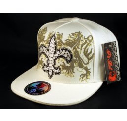 Fleur-de-lis Fitted Hat on White Flat Brim Hip Hop Hat Jewels