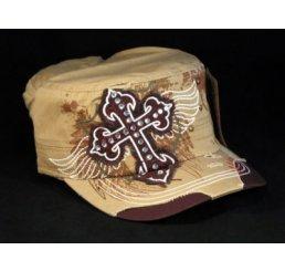 Cross on Khaki Cadet Cap Military Hat Distress Visor