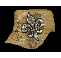 Fleur-de-lis on Khaki Cadet Cap Vintage Army Hat Distressed Visor