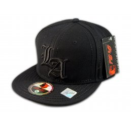 Los Angeles LA on Fitted Black Flat Brim Ball Cap Hip Hop Style Hat