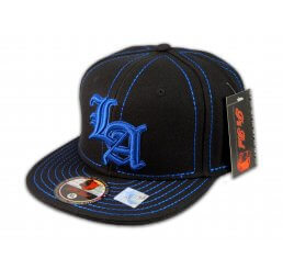 Los Angeles LA on Black Blue Flat Brim Ball Cap Hip Hop Style Hat