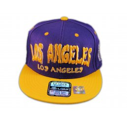Los Angeles Snapback Purple Gold Baseball Hat Cap Grenade Flat Bill