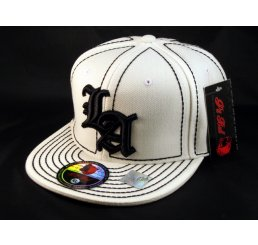 Los Angeles LA on White Black Flat Brim Ball Cap Hip Hop Style Hat
