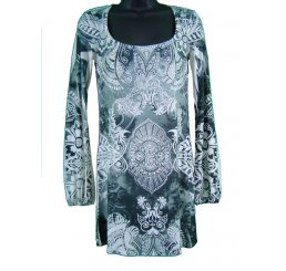 Tunic Dress Long Sleeve All Over Prnt and Jewel Lace Back