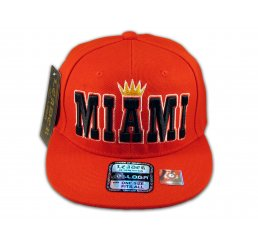 Miami Snapback Red Baseball Adjustable Hat Cap Flat Bill