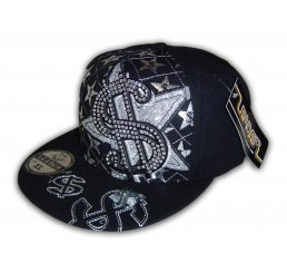 Money Sign on Black Fitted Flat Brim Cap Hip Hop Style Hat