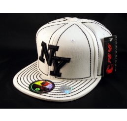 New York NY on White Black Flat Brim Ball Cap Hip Hop Style Hat
