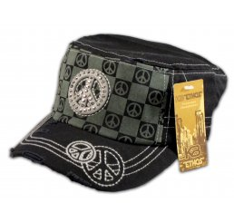 Peace Sign on Checkerboard on Black Army Cadet Hat Military Cap
