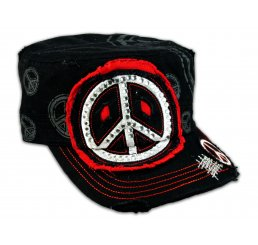 Peace Sign Black Red Cadet Castro Hat Vintage Military Army Cap Jewels