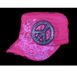 Peace Sign on Pink Cadet Cap with Vintage Distressed Visor