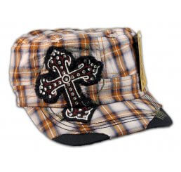 Cross on Brown Plaid Cadet Cap Military Hat Distressed Visor