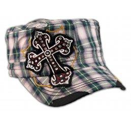 Cross on Green Plaid Cadet Cap Military Hat Distressed Visor