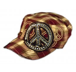 Peace Sign on Burgundy Plaid Cadet Cap