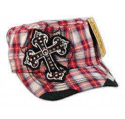 Cross on Red Plaid Cadet Cap Military Hat Distressed Visor