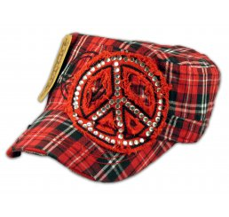 Peace Sign on Red Plaid Cadet Cap Distressed Visor