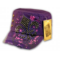 Fleur-de-lis on Purple Cadet Cap Army Hat Distressed Visor Jewel