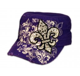 Fleur-de-lis on Purple Cadet Cap Vintage Army Hat Distressed Visor