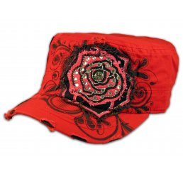 Pink Rose on Red Cadet Cap Military Hat Distressed Visor