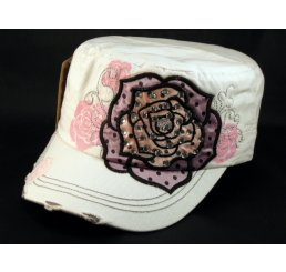 Pink Purple Rose on White Cadet Cap Army Hat Distressed Visor