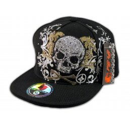 Skull and Cross Bones on Black Flat Brim Hip Hop Fitted Hat Jewels