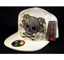 Skull and Crossbones on White Flat Brim Hip Hop Fitted Hat
